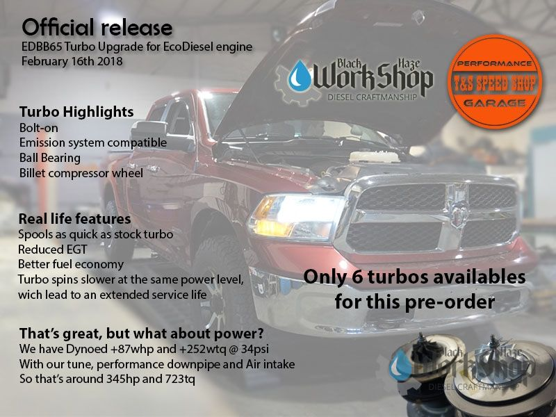 Turbo upgrade performance bolt-on Ecodiesel 3.0 Dodge Ram 1500 Jeep Grand Cherokee